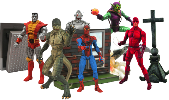 Marvel-Select-Figurines-SpiderMan-Goblin-Colossus